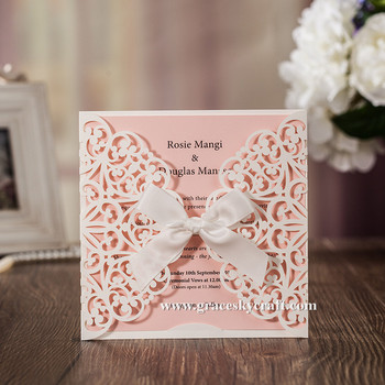 50pcs free shipping New pearlescent laser cut Lace flowerpaper wedding invitation cards text customized party invitation