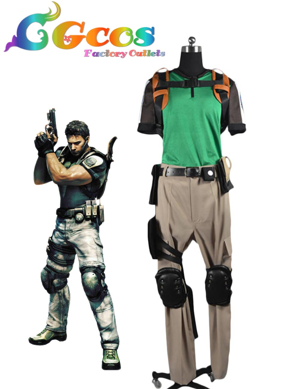 CGCOS Free Shipping Cosplay Costume COS Resident Evil: Retribution Chris Redfield Uniform New in Stock Halloween Christmas