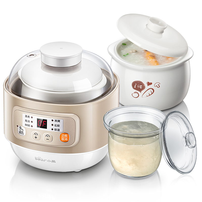 Bear Electric Cookers Ceramic Stew Pot Fully Automatic Baby Birds Nest Porridge Double Liner TimingBear Electric Cookers Ceramic Stew Pot Fully Automatic Baby Birds Nest Porridge Double Liner Timing