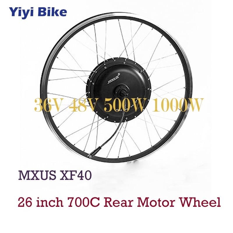 MXUS Electric Bike DC Motor 36V 48V Brushless Hub Motor 500W 1000W For 26 inch 700C Bicicleta electrica Rear Wheel Motor Kit