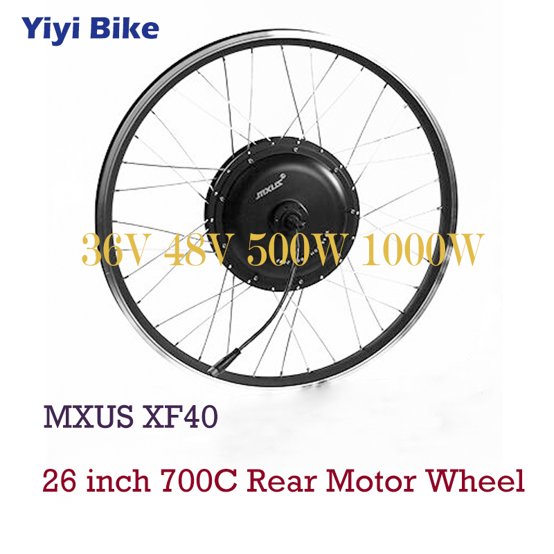 MXUS Electric <font><b>Bike</b></font> <font><b>DC</b></font> <font><b>Motor</b></font> 36V 48V Brushless Hub <font><b>Motor</b></font> <font><b>500W</b></font> 1000W For 26 inch 700C Bicicleta electrica Rear Wheel <font><b>Motor</b></font> Kit image