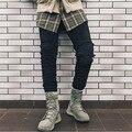 Moda para hombre de hip hop diseñador ripped jeans flaco europea blanco y negro biker jeans para hombres