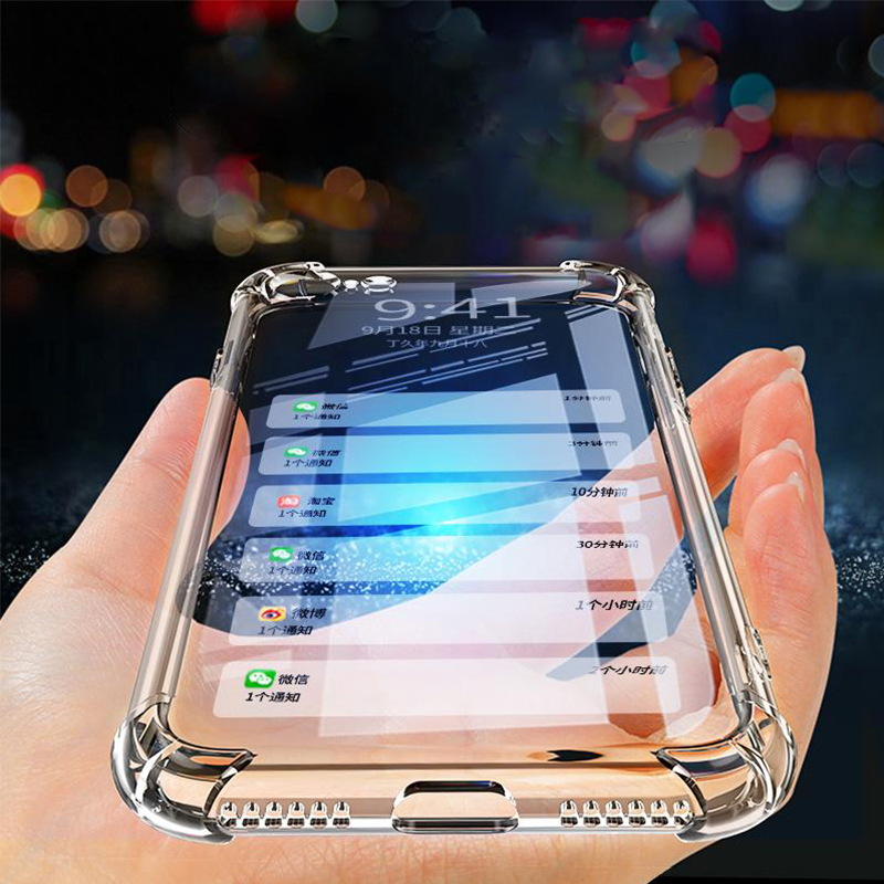 Silicone Clear Shockproof Pour Case For iPhone 6 S 6S X 10 Xs Max XR iPhone7 Plus 6Plus 6sPlus 7Plus 8Plus Phone Cover image
