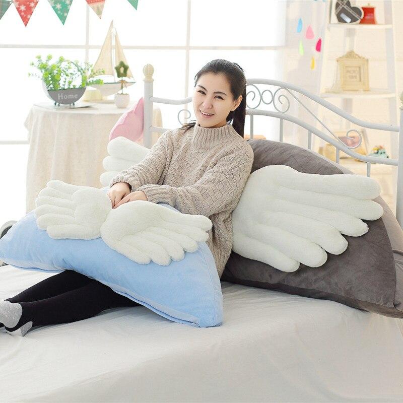 1 pc 90 cm Kawaii aile forme en peluche oreiller en peluche dessin animé lit oreillers dos coussin mignon enfants en peluche jouets poupée cadeau d'anniversaire