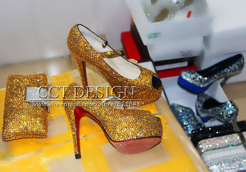 a50f282a88e Sparkly Shoes Woman Rhinestone Gold Wedding Shoes Mary Janes Platform Peep  Toe High Heels Italian Shoes And Bag Set Plus Size-in Women s Pumps from  Shoes on ...