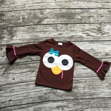 baby girls Fall clothes 2017 new arrival fall/winter boutique outfits turkey raglans baby girls thanksgiving raglans brown top