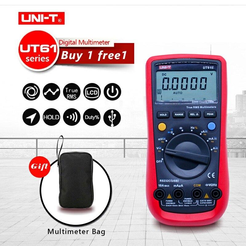 Original UNI-T UT61A/B/C/D/E multímetros digitales de alta precisión RMS pico valor RS232 REL AC DC amperímetros