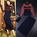 Diseñador de pista ropa de mujer set purlish azul raya de la manga larga de punto suéter traje de falda a media pierna faldas traje de marca conjunto