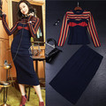 runway designer womens clothing set purlish blue long sleeve stripe knitted sweater skirt suit mid-calf skirts brand suit set