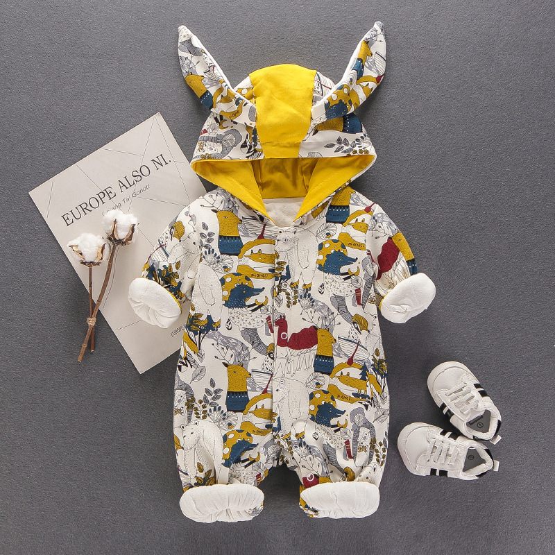 Newborn Baby Rompers Spring Down Clothes Cartoon Girl Boy Clothing Long Sleeve Hooded Boys Girls Infant Jumpsuits Product 0-18M цена