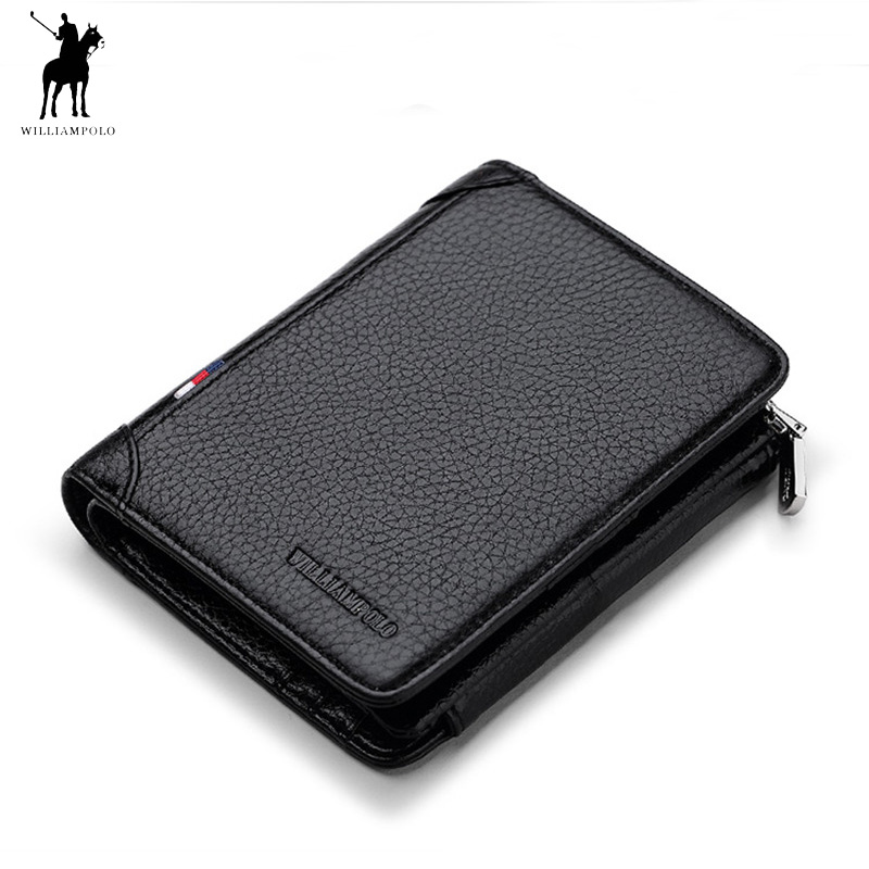 WILLIAMPOLO Famous Brand Trifold Wallet Men Short Purse Card Holder Coin Pocket Zipper Pouch Small Genuine Leather Wallet Men business long men wallet new fashion genuine leather pouch famous brand vintage purse card