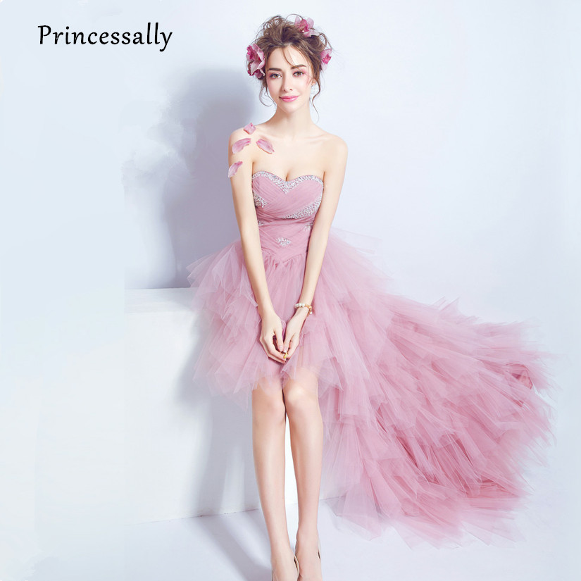 Dusty Pink Rebordear Plisado Tulle alto Bajo Vestido de Noche ...