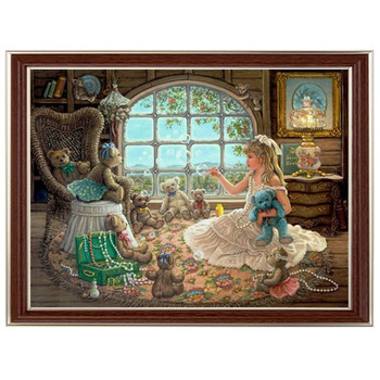 Golden Panno,Needlework,Embroidery,DIY Portrait Painting,Cross stitch,kits,14ct girl and toy Cross-stitch,Sets For Embroidery