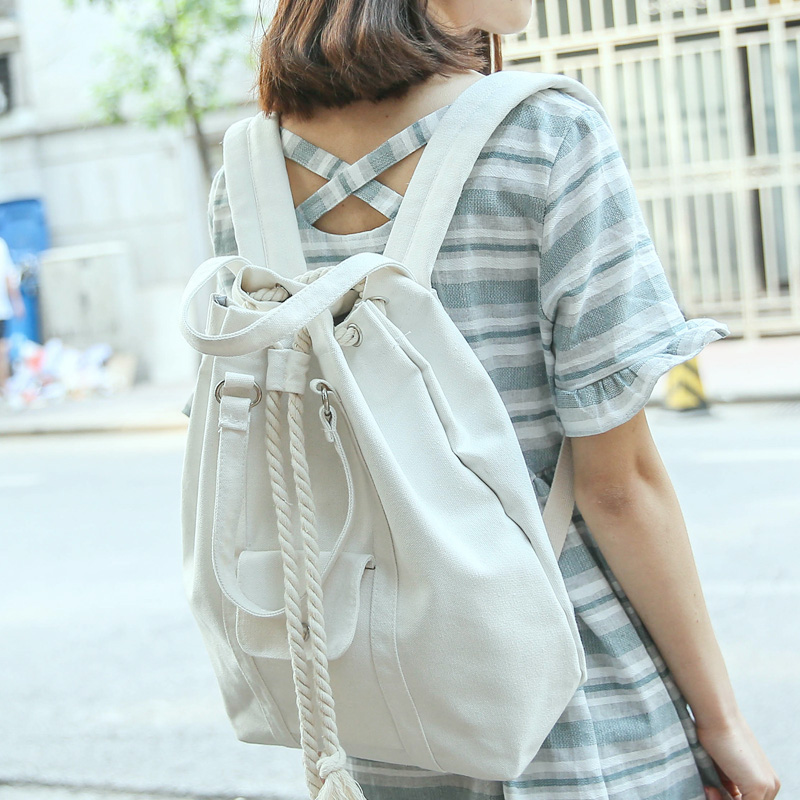 Korean Janpan Style Canvas Backpack Mochilas Feminine Drawstring Backpacks Black White Travel Bagpack Girl Shoulder School