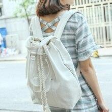 Корейский Janpan Стиль рюкзак Mochilas женственный Drawstring Рюкзаки черный, белый цвет Путешествия Bagpack девушка плеча Школьные сумки