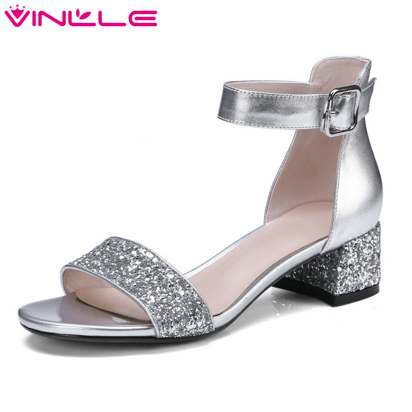 VINLLE 2018 Women Sandals Shoes Woman Peep Toe Leather Genuine Leather Square Med Heel Platform Ladies Wedding Shoes Size 34-42