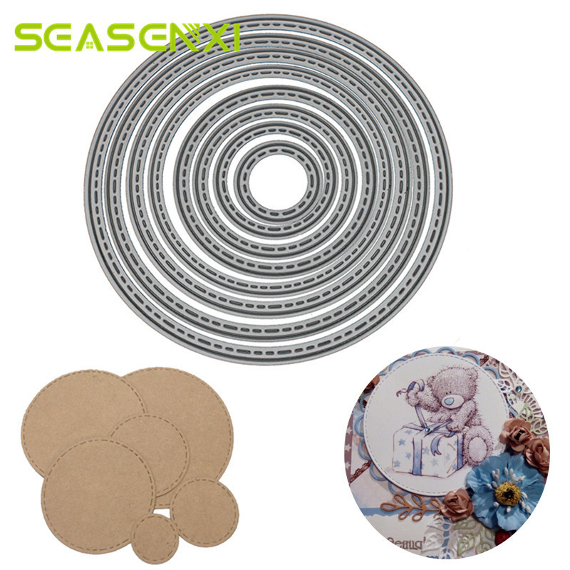 8pcs Round Circle Metal Cutting Dies Stencil For Diy Scrapbooking Photo Album Decorative Embossing Template Folder Crafts Decor