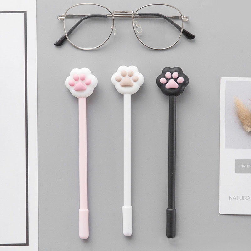 3PCS Cute Cat Claw Modeling Gel Pen Kawaii Animals Roller Ball Pens Stationery Office School Supplies school supplies 3d snake clip monte mount high quality roller pen gel pen fashion kawaii orange metal roller ball pen refill