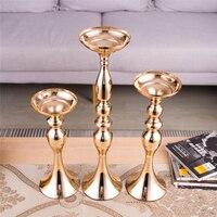 1 set Table Centerpiece Gold Candle Holders Flower Vase Candlestick Wedding Decoration Flower Rack Road Lead Home Decoration