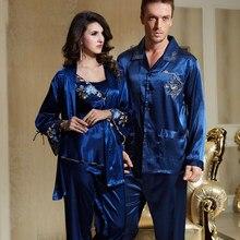 7cb1f0d240 XIFENNI marca de pijamas de pareja hombres mujeres Sexy satén seda pijama  Pantalones azul de manga larga pijama salón establece .