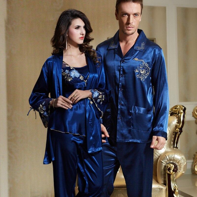 XIFENNI Marque Couple Pyjamas Hommes Femmes Sexy En Satin De Soie Pyjama Pantalon Ensembles Bleu À Manches Longues Pyjama Salon Ensembles Amateurs vêtements de nuit