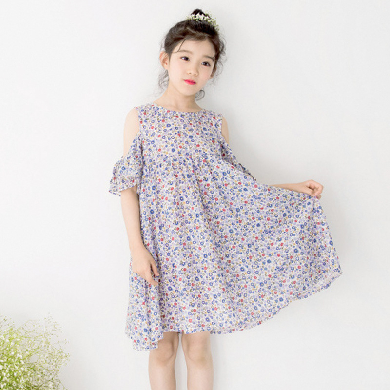 Summer Dress 2018 New Fashion Flowers Bohemian Dress Off Shoulder Designs Baby Girl Party Dress Evening Floral Dress Princess bohemian bell sleeve floral midi dress