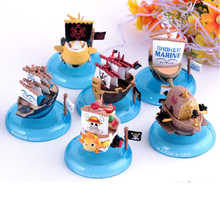 One piece Thousand Sunny Marine Red Force Submarine Smoker Pirate Ship Figures 6Pcs Set