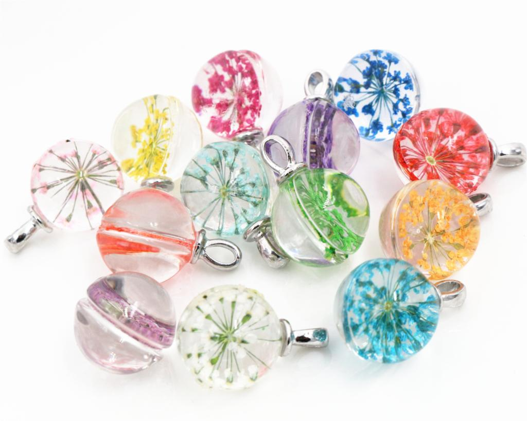 5pcs/Lot 19x15mm Hot sale Jewelry Crystal Glass Real Mix Colors Dried Flower Ball Necklace Pendant;For Women,Girl Gifts-N4-45