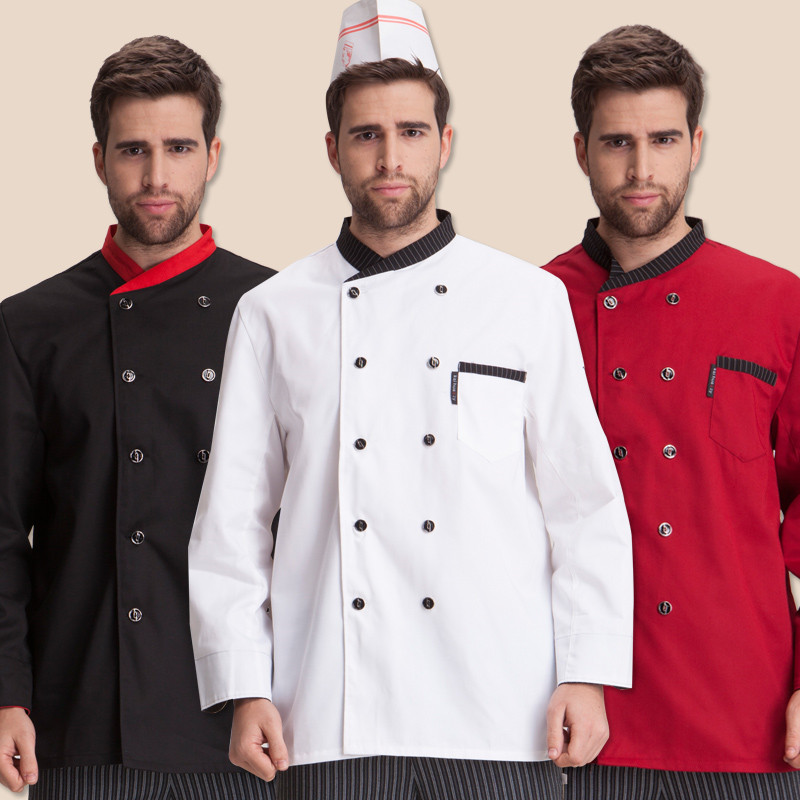 New Fashion Hotel Restaurant Kitchen Cook Chef Costume for Men Women Uniform Costume Coat Jacket Long Sleeve White Black Red