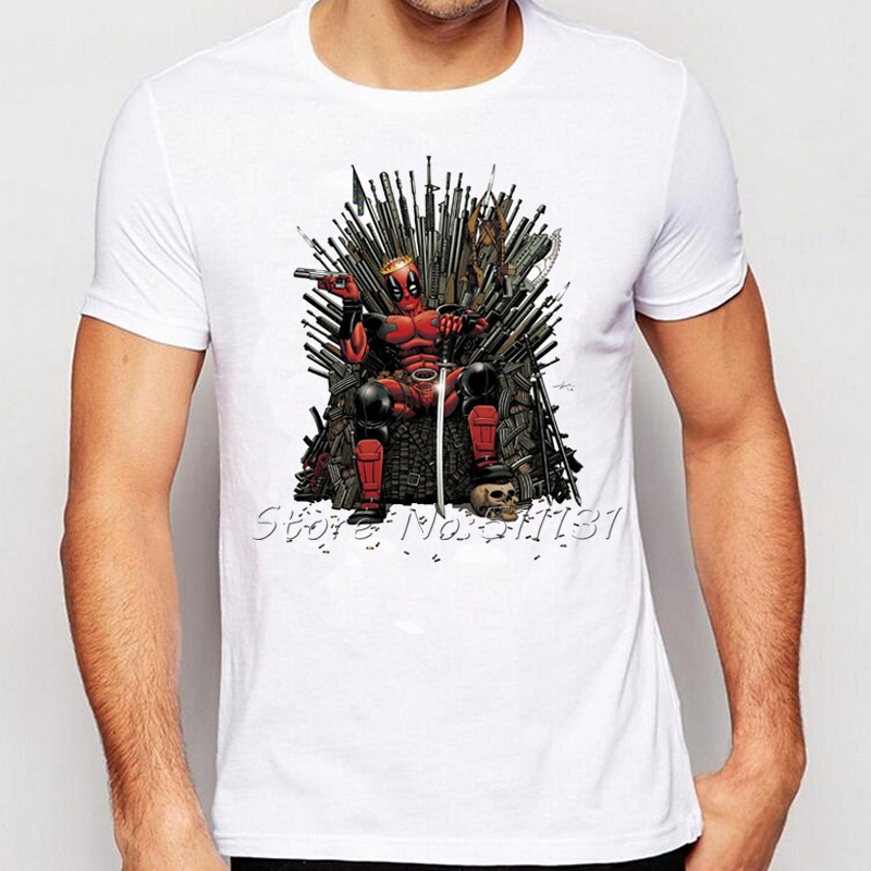 2016 newest cool deadpool on the iron throne t shirt design fashion game of thrones tshirts mens short sleeve tee tops in t shirts from mens clothing - White T Shirt Design Ideas