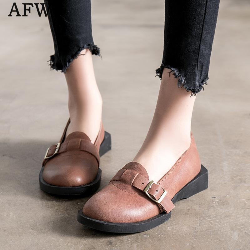 AFW Women Genuine Leather Flats Slip On Women Loafers Soft Bottom Leather Shoes Casual Style Handmade Leather Flats 2018 2018 new summer handmade breathable women s shoes genuine leather female hole loafers soft outsole casual shoes flats