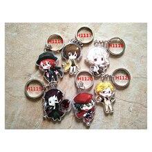 3/6pcs/set Anime Keychain Bungo Stray Dogs Anime Dazai Osamu Nakajima Twoside Print Keychaint kulcstarto Keyring Pendant
