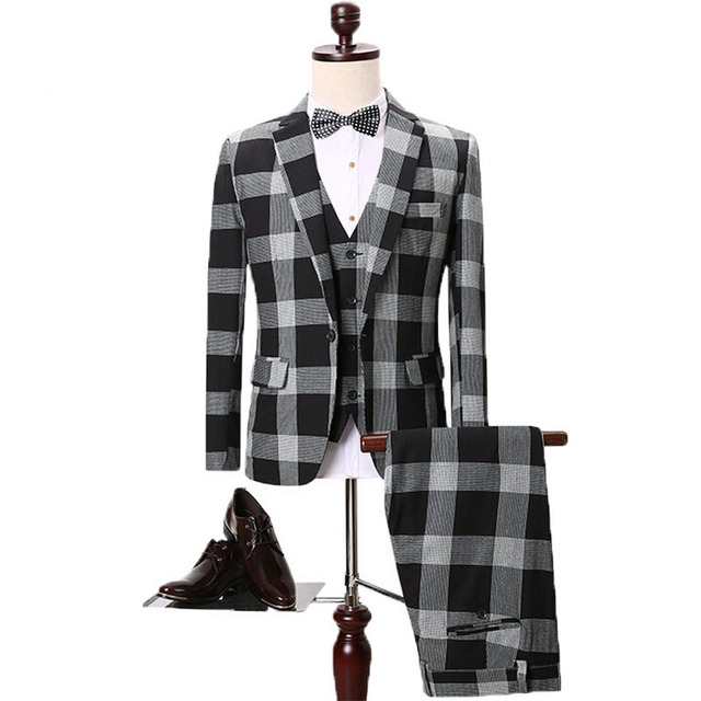2016 new mens clothing gray plaid suits 3 piece suit+vest+trousers business suits casual male slim blazers Jaqueta masculino 260