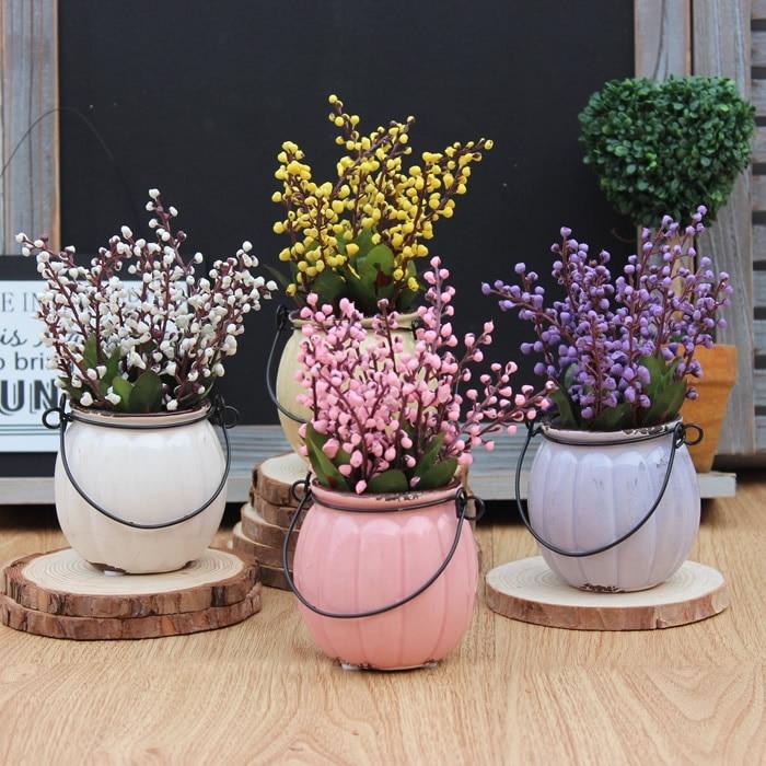 Country Style Vintage Labu Keramik Bonsai Tanaman Buatan Dekorasi Meja Ruang Tamu Z Rumah Di Bunga Kering Dari Taman