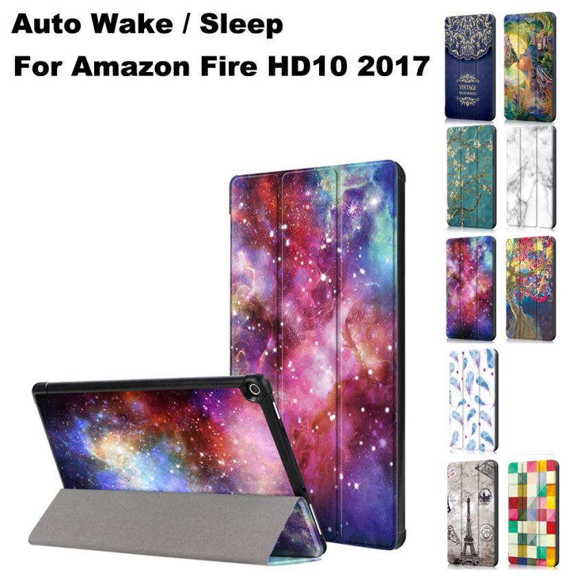 Delgado plegable del caso del soporte cubierta con auto Wake/Sleep para Amazon Kindle Fire HD10 2017 OC24