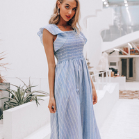 Paris girl Vintage striped women long dress Ruffle linen blue elegant summer dress Casual cotton fashion female beach vestidos
