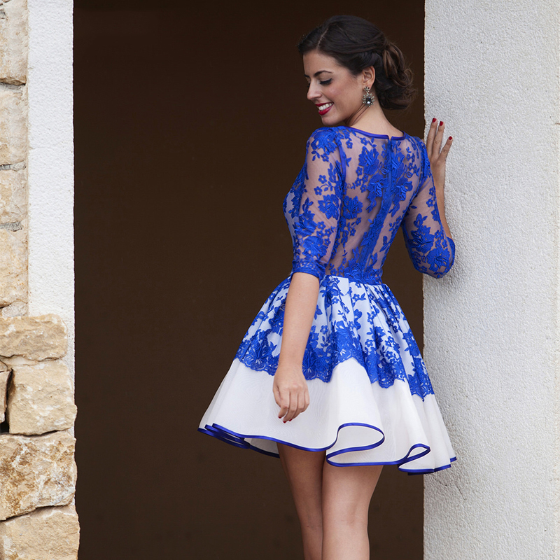 Charming Short   Cocktail     Dress   New Robes De   Cocktail   Back See Through Sheer Lace Royal Blue Short Prom Gowns