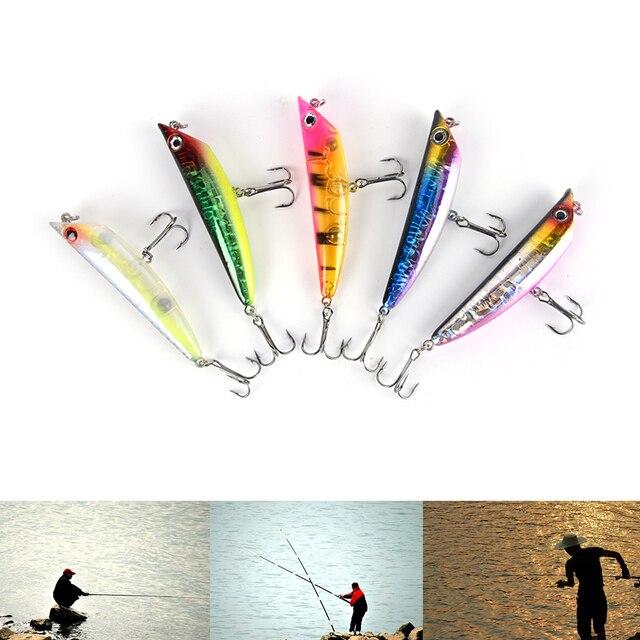 1pcs 8cm abs metal dog fishing lure pencil spinner saltwater