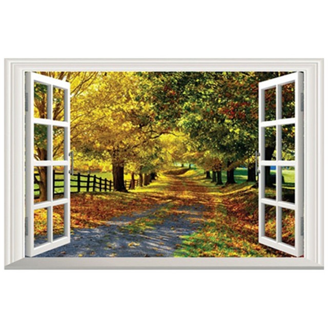 3d Fake Window Mural Autumn Country Landscape Tree Lined Trail Vinyl Wall  Stickers Home Decoration