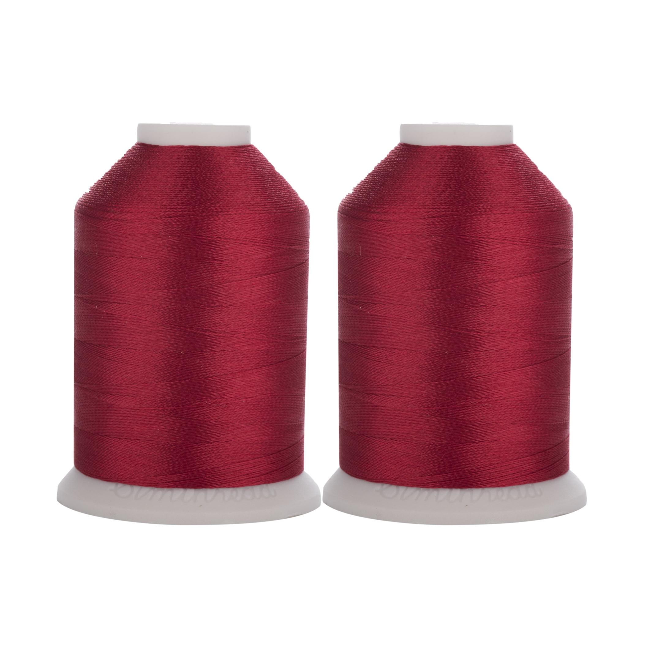 Linha de costura vermelha 40wt tkt 800 tex 27 da linha do bordado do poliéster trilobal de simthread 120 em 1100y com 2 carretéis enormes
