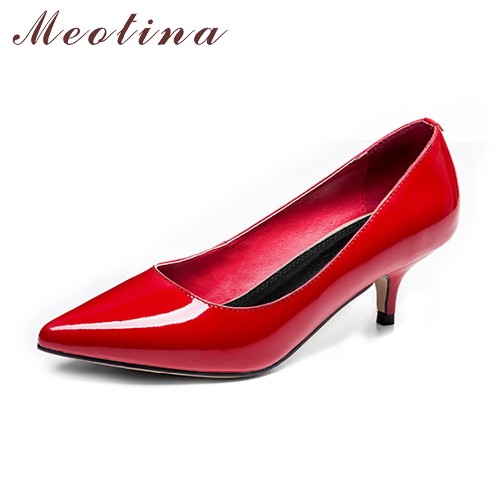Meotina Women Shoes Genuine Leather High Heel Pumps Pointed Toe Slip On Shoe Ladies Office Pumps Autumn Nude Plus Size 43 44 size 34 39 red patchwork slip on ladies summer shoes wedge high heel pu low leather woman pumps pointed toe ladies wedding shoe