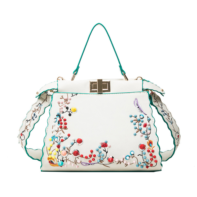 Luxury Handbag Women Bag Designer Fashion Flower Embroidery Peekaboo Shoulder Bags Female Tote handbag with Colorful Rivets 2018 luxury chinese style women handbag embroidery ethnic summer fashion handmade flowers ladies tote shoulder bags cross body bags