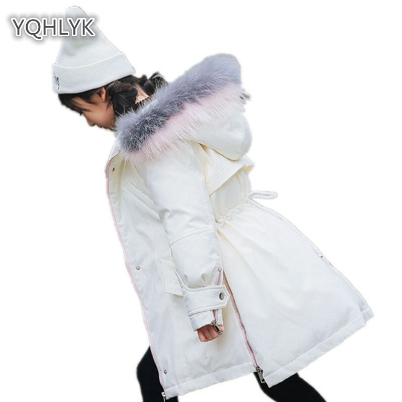 Children girls winter cotton coat fashion hooded warm girl down jacket thick girl big fur collar long kids cotton LK029 brand fashion long winter jacket women slim solid hooded fur collar zippers ladies long jacket warm cotton coat plus size xxxl