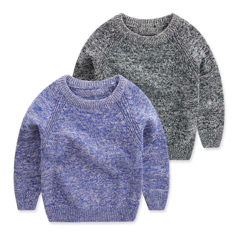 새로운 가을 겨울 소년 스웨터 코튼 어린이 니트 라운드 넥 솔리드 키즈 풀오버 의류 유아 아기 스웨터 1-5y