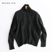 REJINAPYO Women Vintage Winding Crochet Solid Turtleneck Sweater Female Fashion Plus Size Winter Sweater Ladies Loose Pullover