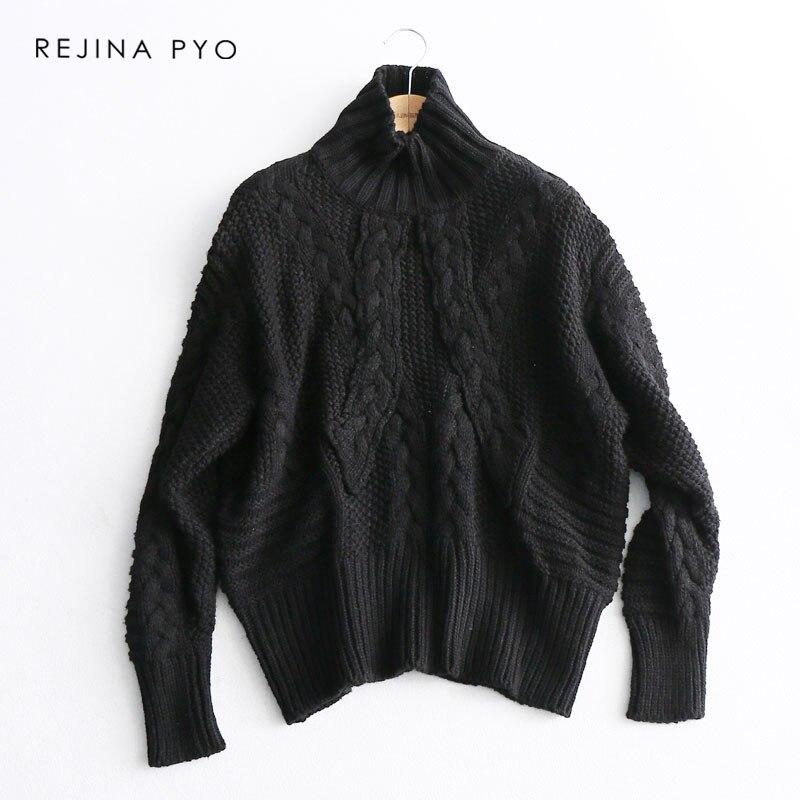REJINAPYO Women Vintage Winding Crochet Solid Turtleneck Sweater Female Fashion Plus Size Winter Sweater Ladies Loose Pullover