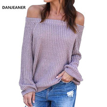 Danjeaner Off Shoulder Knitted Pullovers Women Solid Sexy Lantern Sleeve Sweaters Plus Size Casual Streetwear Knitwear Jumpers