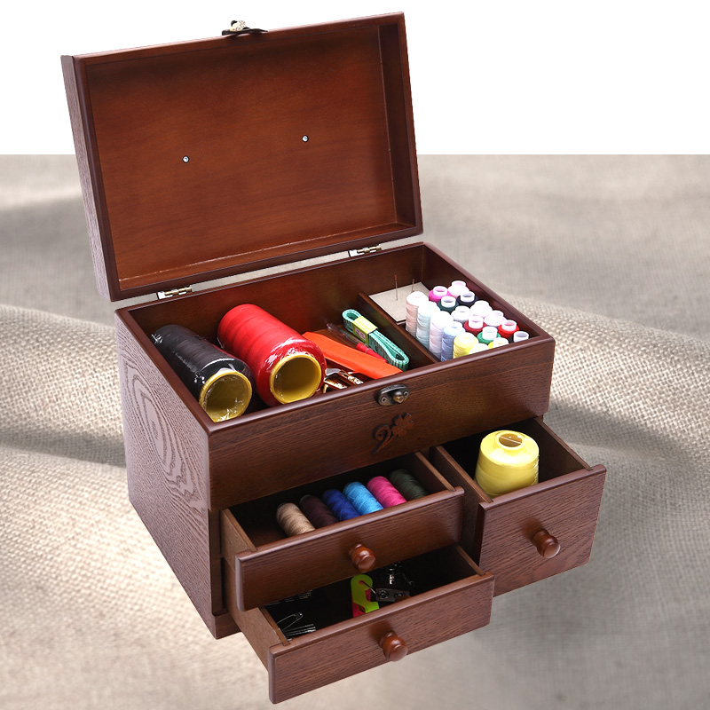 Cosmetics wooden desk box household sewing cover large dresser drawer