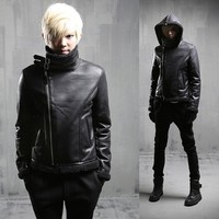 The New Warm Coat Tide Male Korean Slim Leather Fashion Personality Lambs Wool Hooded Leather W97