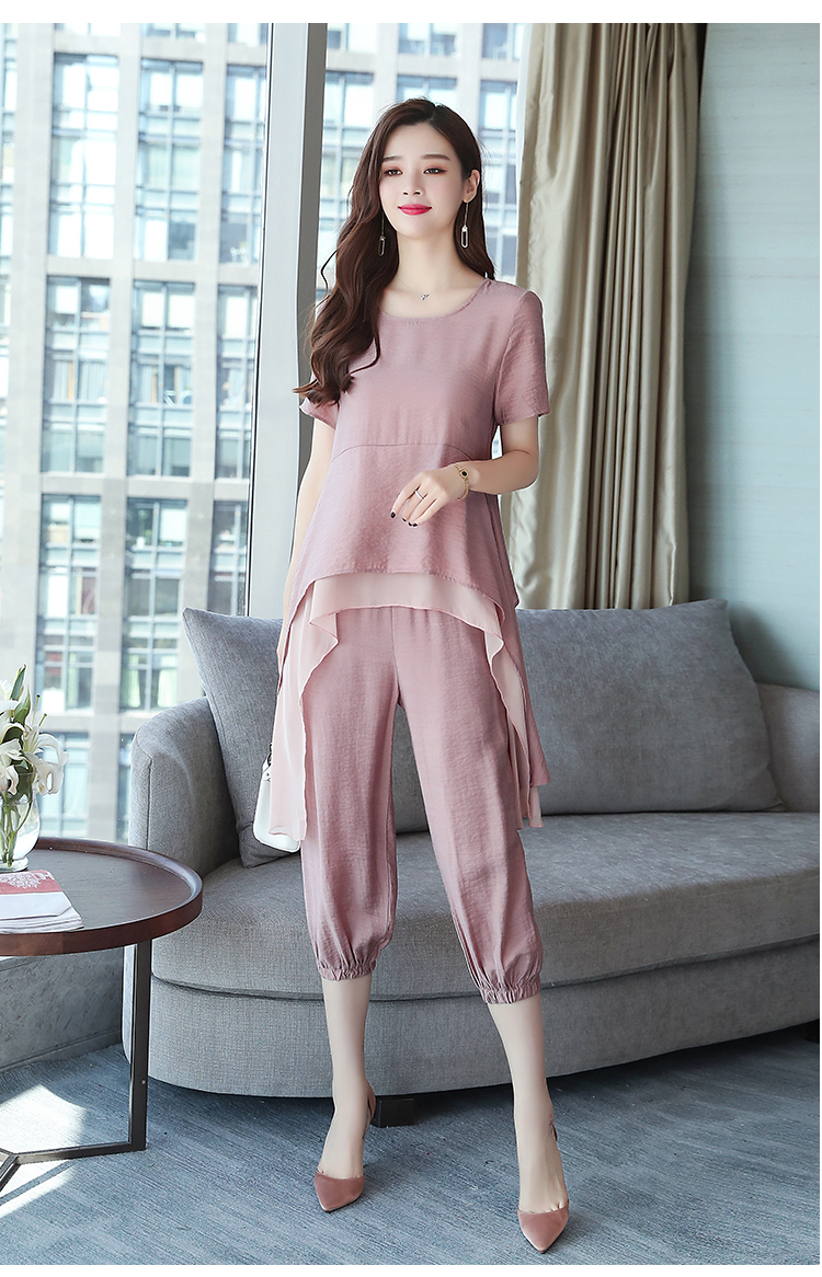 2019 Summer Linen Two Piece Sets Women Plus Size Short Sleeve Tops And Cropped Pants Suits Office Elegant Casual Women's Sets 63